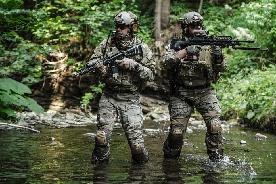 soliders in rainforest